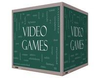 Videospelletjesword Wolkenconcept op een 3D kubusbord royalty-vrije illustratie