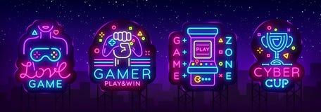 Videospielleuchtreklame-Sammlungsvektor Begriffslogos, Liebes-Spiel, Gamerlogo, Spiel-Zone, Cybersport Emblem in modernem vektor abbildung