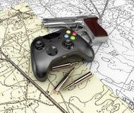 Videospielprüfer mit Gewehr auf den Karten, Illustration 3d Lizenzfreies Stockbild