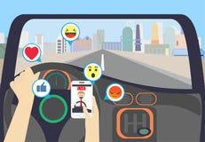 Videoströmen beim Fahren auf die Stadt stock abbildung