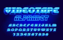 Free Videotape Alphabet Font. 3D Neon Letters, Numbers And Symbols In 80s Style. Stock Images - 182406904