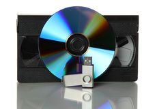 Videotape with dvd and usb stick Royalty Free Stock Image