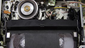 Videotape into the VCR stock footage