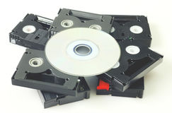 Videotapes and DVD isolated Stock Photography