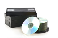 Videotapes versus dvd. Stock Images