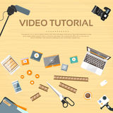 Videotutorherausgeber-Desk Working Place-Vektor Stockfotografie