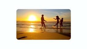 Videovänner som tycker om stranden på solnedgången lager videofilmer