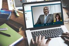 Videovraagconferentie het Babbelen Communicatie Concept royalty-vrije stock fotografie