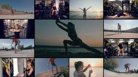 Videowall met mensen die sporten doen De actieve sport multiscreen Zijnd geschikt concept stock video