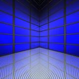 Videowand mit blauen Bildschirmen Lizenzfreie Stockfotografie