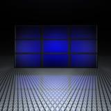 Videowand mit blauen Bildschirmen Lizenzfreie Stockbilder