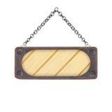 Videz en bois et la plaque d'acier avec la chaîne d'isolement sur le blanc Photo stock