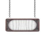 Videz en bois et la plaque d'acier avec la chaîne d'isolement sur le blanc Photographie stock