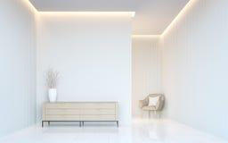 Videz l'image intérieure du rendu 3d de l'espace moderne de pièce blanche Images libres de droits