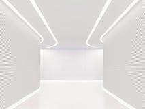 Videz l'image intérieure du rendu 3d de l'espace moderne de pièce blanche Photos libres de droits