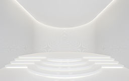 Videz l'image intérieure du rendu 3d de l'espace moderne de pièce blanche Photo libre de droits