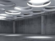 Videz l'intérieur concret de hall avec de grandes lampes rondes Photos libres de droits