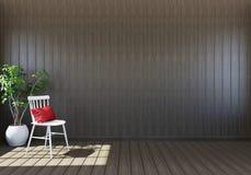 Videz l'intérieur en bois de salon avec la chaise d'espace et blanche vitale et l'usine décorative Photographie stock libre de droits