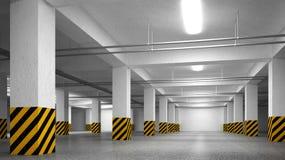 Videz l'intérieur souterrain d'abrégé sur stationnement Image libre de droits