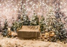 Videz l'oscillation avec une couverture là-dessus sous les lampes-torches dans une neige Image stock