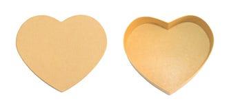 Videz la boîte de papier brune en forme de coeur ouverte avec le couvercle de boîte, cadeau ou Photos stock