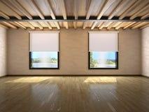 Videz la grande pièce avec des fenêtres et des faisceaux sur le plafond illustration stock