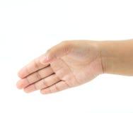 Videz la main femelle ouverte pour se serrent la main photos stock
