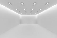 Videz la pièce blanche avec de petites lampes rondes de plafond Photographie stock libre de droits