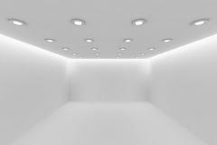 Videz la pièce blanche avec la petite vue de perspective ronde de lampes de plafond Image libre de droits