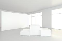 Videz la pièce blanche avec un piédestal pour la présentation rendu 3d Images libres de droits