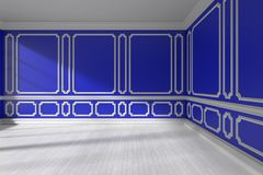 Videz la pièce bleue avec le bâti et le plancher de parquet blanc Image libre de droits