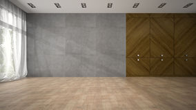 Videz la pièce de conception moderne avec le rendu en bois du cabinet 3D Photographie stock libre de droits