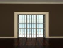 Videz la pièce intérieure avec des hublots à la terrasse Photographie stock libre de droits