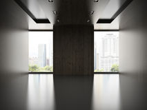 Videz la pièce moderne avec le mur en bois 3D rendant 2 Photographie stock libre de droits