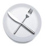 Videz la plaque avec la fourchette et le couteau images stock