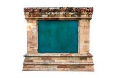Videz la texture verte de tableau avec le vieux cadre en pierre antique de vintage sur le fond blanc, l'espace vide de copie d'en photographie stock libre de droits