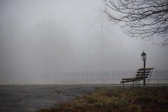 Videz le banc au parc près de l'étang par jour brumeux, scène froide minimalistic de saison banc au lac dans le brouillard dans l Images libres de droits
