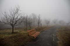 Videz le banc au parc près de l'étang par jour brumeux, scène froide minimalistic de saison banc au lac dans le brouillard dans l Photo libre de droits