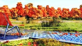 Videz le banc dans le paysage d'aquarelle de parc d'automne illustration libre de droits
