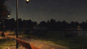 Videz le banc sur le passage couvert de parc la nuit pluvieux automne illustration stock