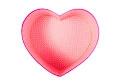 Videz le boîte-cadeau (vide) de forme de coeur (amour) à l'intérieur de la vue supérieure d'isolement Image libre de droits