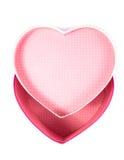 Videz le boîte-cadeau (vide) de forme de coeur (amour) à l'intérieur de la vue supérieure d'isolement Images stock