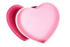 Videz le boîte-cadeau (vide) de forme de coeur (amour) à l'intérieur de la vue supérieure d'isolement Photographie stock
