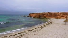 Videz le cap rocheux avec la plage sablonneuse près de la belle mer banque de vidéos
