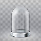 Videz le dôme en verre clair d'étalage de cylindre d'isolement sur l'illustration transparente de vecteur de fond illustration libre de droits