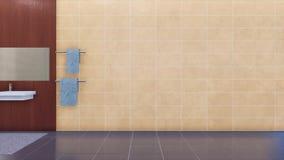 Videz le mur beige de tuiles dans l'intérieur moderne de salle de bains banque de vidéos