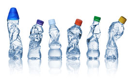 Videz les bouteilles en plastique utilisées Photo stock