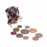 Videz les pièces de monnaie de bourse ouverte et de l'anglais Photographie stock
