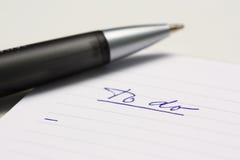 Videz pour faire la liste avec le stylo images libres de droits