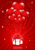 vidfästa ballonger box gåvahjärta mycket till Royaltyfri Fotografi